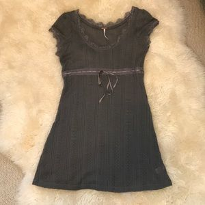 Free People Grey Knit Tunic Dress Sz Large